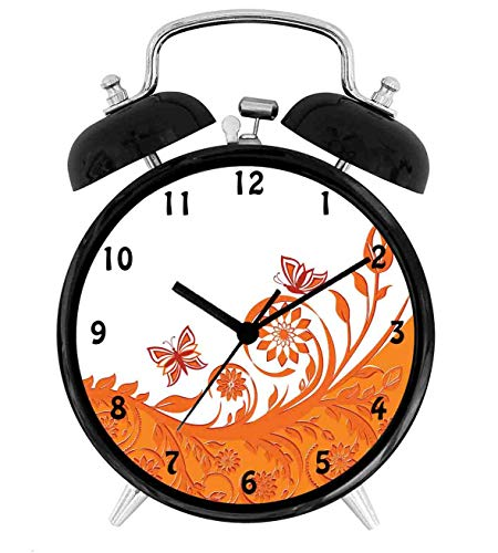 (22yiihannz Artistic Rose Branchwith Floral Swirls in Butterflies,Battery Operated Quartz Ring Alarm Clock for Home,Office,Bedroom,White_4inch)