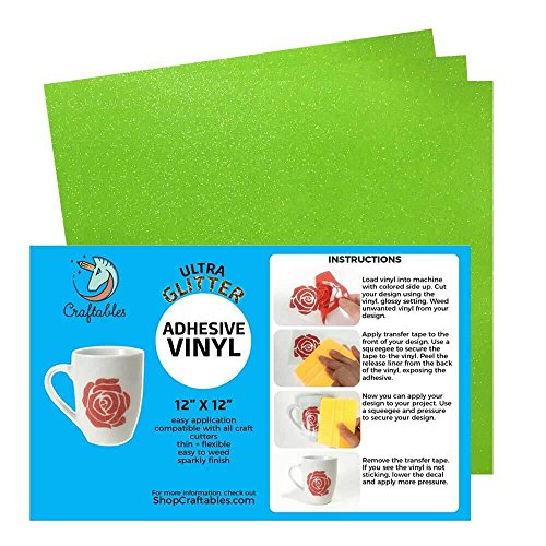 Craftables Lime Green Ultra Glitter Adhesive Vinyl for Cricut, Silhouette Cameo, and Craft Cutters - (3) 12in x 12in sheets