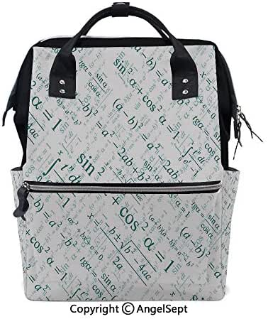 Large Anti-Water Maternity Baby Nappy Bags,Various Complex Math Formulas Operations Science Research Study Decorative Teal White,15.7 inches,Multifunction Travel Back Pack