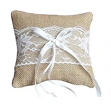 Almohada de anillo para la boda Almohada con cintas de raso 15 x 15 cm