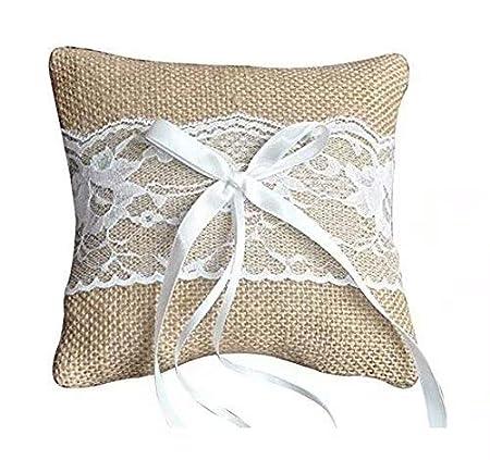 Almohada de anillo para la boda Almohada con cintas de raso 10 x 10 cm