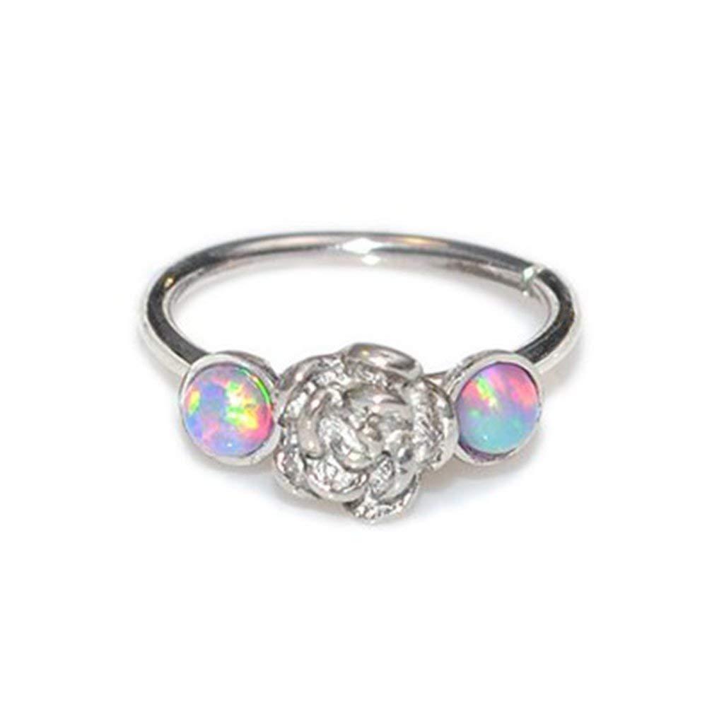 2mm Opal Flower Nose Ring Hoop Silver 20g, Nose Hoop, Tragus Ring, Helix Ring 510JpF0EKHL