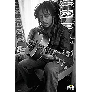 Bob marley playing guitar with a cigarette 24x36 poster black and white music