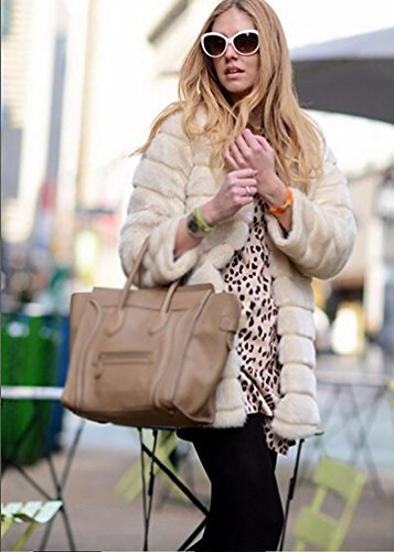 Beige Manteau d'hiver Veste Parka Fausse Outwear Fourrure Longue en Chaude YiLianDa vAqxdwv
