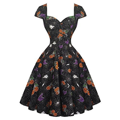 Hell Bunny Harlow Halloween Gothique Citrouille 1950s Déguisement Fête Robe Évasée