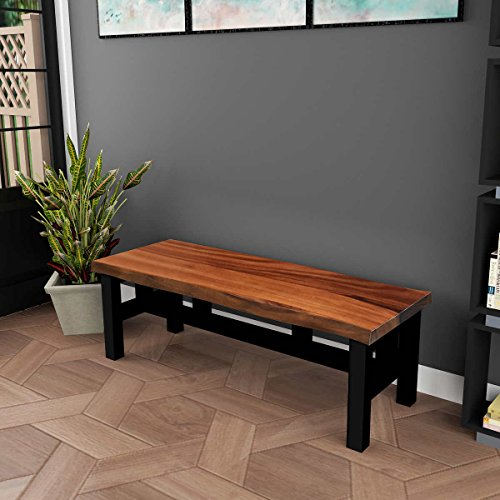 Handsome One Of A Kind 2 Person Eden Live Edge Solid Acacia Wood Bench Black Stained Solid Acacia Wood Base 17
