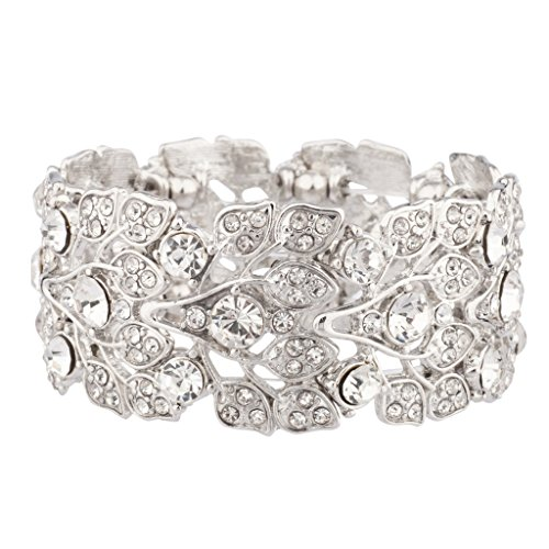 Lux Accessories Pave Crystal Floral Leaf Branch Stretch Bracelet