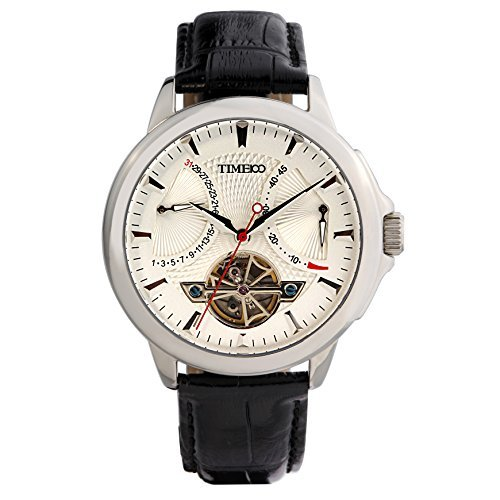Hand Automatic Watch - Time100 Mens Wrist Leather Strap Mechanical Self Wind Watches Navigator-Series Tourbillon-Style Automatic Watch for Men