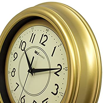 45Min 12-Inch Decorated Dial Face Retro Wall Clock, Silent Non-Ticking Round Home Decor Wall Clock with Fern/Phoenix/Peacock/Peony (Gold)