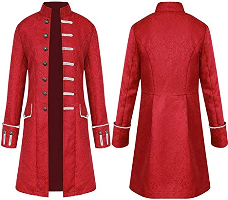 Xmiral Frack męskie płaszcze retro steampunk kurtka stÓjka guzik długi trencz: Odzież