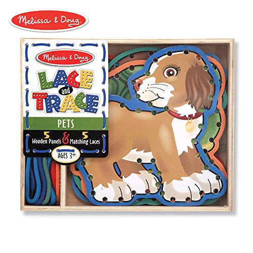 Melissa & Doug Lace and Trace Activity Set: 5 Wooden Panels and 5 Matching Laces - Pets ()