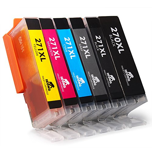 IKONG 6 Pack Replacement Ink Cartridge for Canon PGI-270 XL CLI-271 XL (1 Big Black, 1 Small Black,1 Cyan, 1 Magenta, 1 Yellow, 1 Grey) CLI-271 High Yield Compatible with PIXMA MG7720