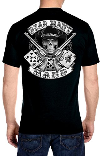 Dead Skull Guns - Leather Supreme Aces And Eights Dead Mans Hand Cowboy Skull Biker T-shirt-Black-Xl