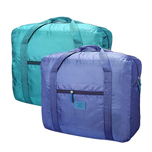Travel Bag Foldable Lightweight Travel Duffel Bag 26L Nylon Waterproof Travel Luggage Bag for Women and Men Pack of 2 Blue Green-1