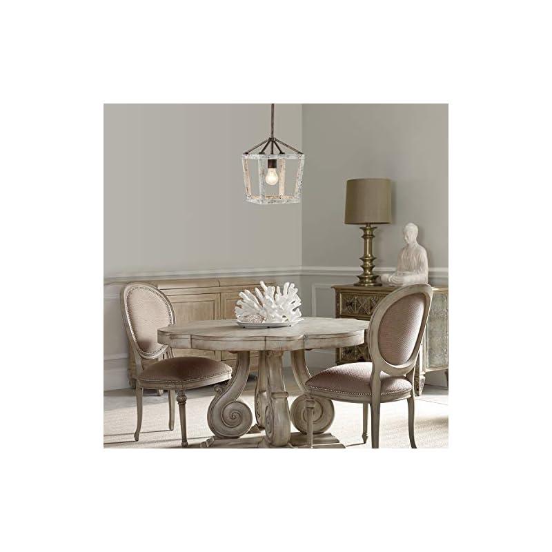 Foyer Light Fixture Rustic Farmhouse Wood Chandelier, Vintage Wooden Lantern Pendant Lighting Distressed White Metal…