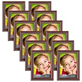 Icona Bay Bulk 5x7 Picture Frames 5x7 (12 Pack, Teak Wood Finish), Frames Bulk, Wooden Picture Frames, Photo Frames for Walls or Tables, 5 by 7 Frames for Family, Grandma, Baby, Lakeland Collection