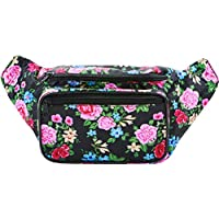 SoJourner Black Rose Fanny Pack - Cute Floral Packs for men, women festivals raves | Waist Bag Fashion Belt Bags