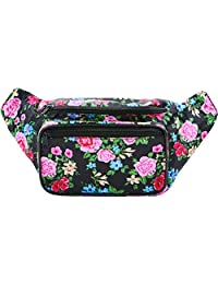 SoJourner Bags Flower Floral Fanny Pack (traditional - pink, black, blue, yellow)