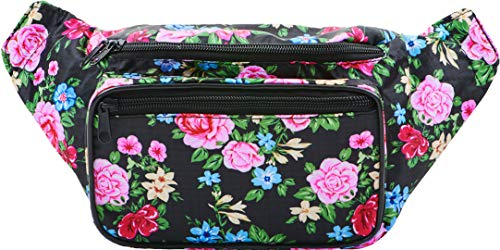 (SoJourner Black Rose Fanny Pack - Cute Floral Packs for men, women festivals raves | Waist Bag Fashion Belt)