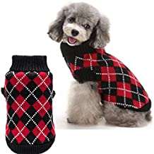 Crochet Dog Argyle Sweater Knitted for Small Doggie Puppy Cat Extra Small