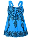 NONWE Women's Plus-Size Swimsuit Retro Print Two Piece Tankini Swimwear Regatta US 18W