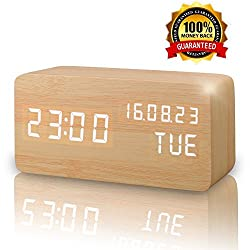 LED Wooden Alarm Clock Wooden LED Digital Alarm Clock Temperature Time Date Display Voice Control Desk Alarm Clock Travel Clocks for Adults, Teens & Kids, Girls and Boys