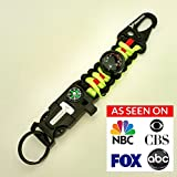 PREP2GO Paracord Keychain Survival Lanyard Multitool Fire Starter with Compass, Thermometer, Whistle, Molle Carabiner Clip and Rated 550 lb 7-Strand Military Grade Parachute Cord