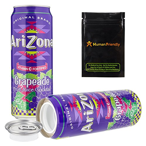 Arizona Grapeade Diversion Safe Stash Can 23 oz w HumanFriendly Smell-Proof Bag by HumanFriendly
