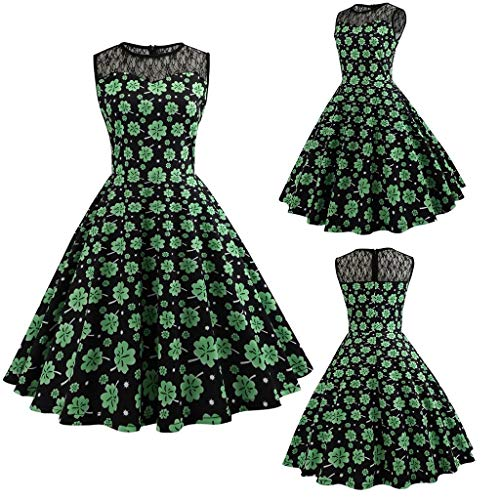 Nihewoo Womens St. Patrick's Day Dress Vintage Sleeveless Floral Print Hollow Out Skirt Shamrock Swing Cocktail Dress Green -