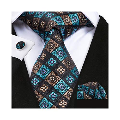 Mens Brown Check Silk Ties Teal Necktie Set Pocket Square Cufflinks Business -
