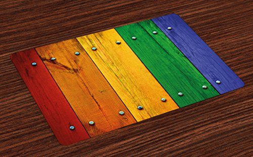 Lunarable Modern Place Mats Set of 4, Rainbow Colored Red Marigold Green and Blue Painted Woods Farm Door Image Print, Washable Fabric Placemats for Dining Room Kitchen Table Decoration, ()