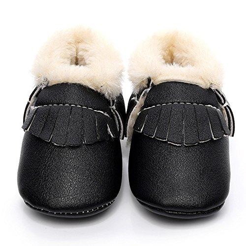 Hunpta Baby Schneestiefel weiche Sohle weiche Krippe Schuhe Kleinkind Stiefel (Alter: 12 ~ 18 Monate, Gelb) Schwarz