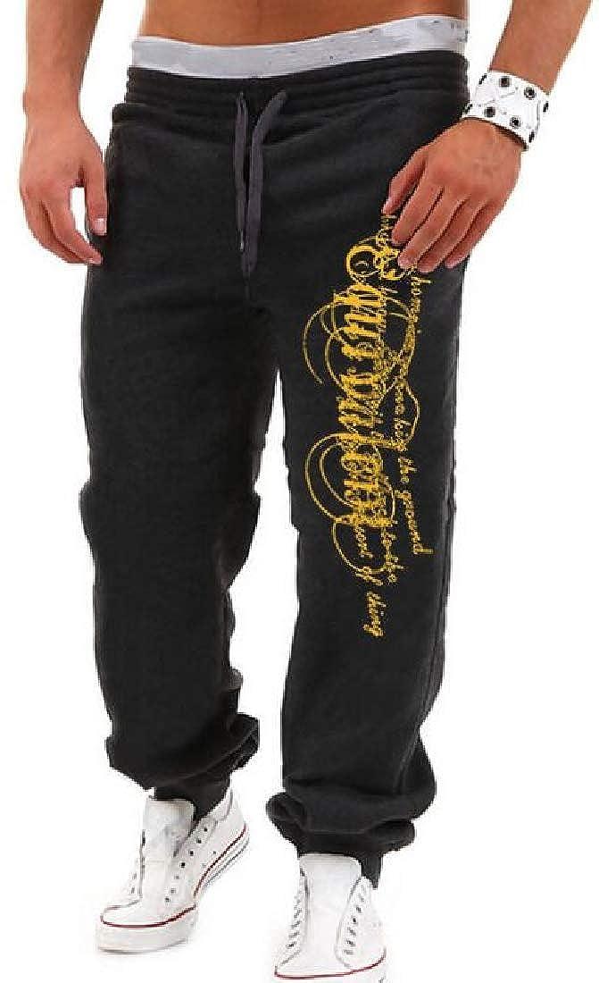 MOUTEN Men Bodybuilding Printed Elastic Waist Drawstring Sweatpants Pants Trousers