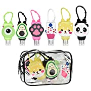 6 Pack Travel Bottles with Clip Portable Cartoon Kids Hand Sanitiser,Hand Gel Portable Travel Keyring Containers…