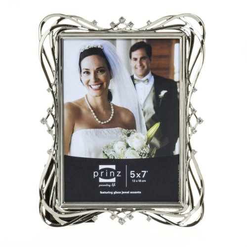 Ornate Metal Frame - Prinz Enchanted Silver Plated Metal Frame with Jewels, 5 by 7-Inch