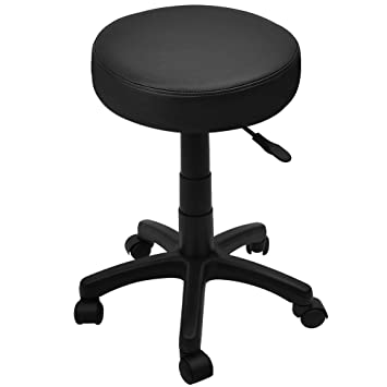 Attractive Swivel Stool Chair Office Black Adjustable Deskchair Round Swiveling 5  Casters Rollable Cosmetic Work Stool