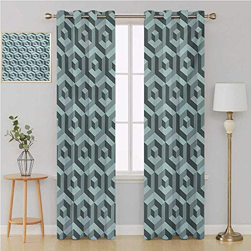 Modern Grommet Curtain Thermal Blackout curtainsMaze Style Digital Dimension Cube Abstract Futuristic Continuous Lines Artsy Graphiclight Curtain 84 by 84 InchSlate Blue ()