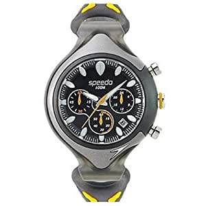 Speedo SD55161 Men's Chronograph Black Dial Black and Yellow Rubber Strap Watch