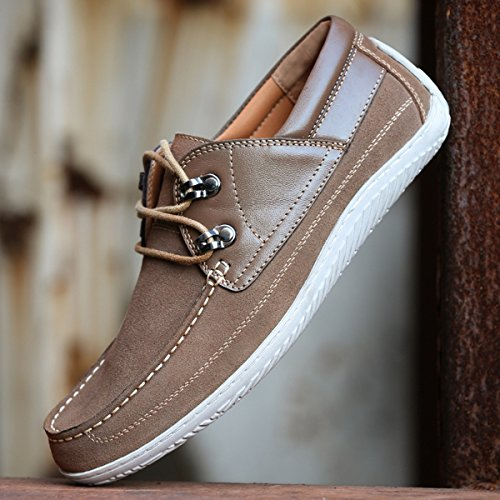Minishion Boys Mens Moc-toe Lace-up Suede Casual Shoes Fashion Sneakers Light Tan lGaHIDYR