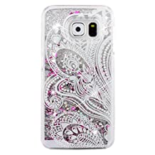 S6 Case,Galaxy S6 Case,PHEZEN Galaxy S6 Bling Case,[Crystal Clear] Creative Design 3D Funny Flowing Bling Glitter Stars Hard Case Cover for Samsung Galaxy S6 (Mandala Flower#1)