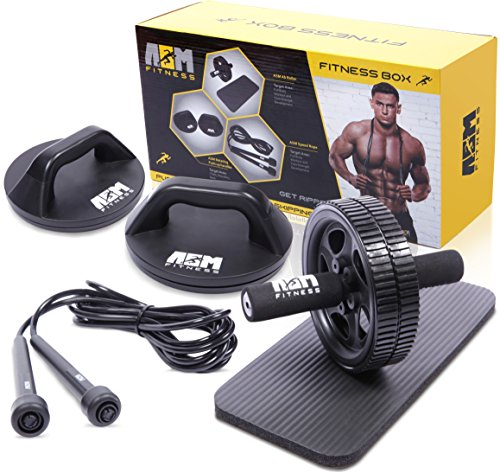 ASM Fitness Box- Ab Wheel Roller with Thick Knee Pad Mat, Rotational Push...