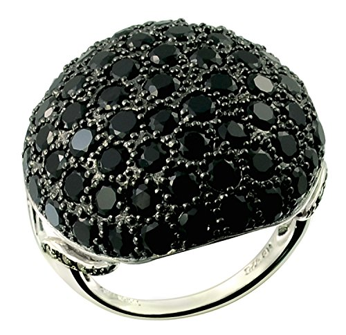 6.99 Carats Onyx with Champagne Diamond Rhodium-plated 925 Sterling Silver Statement Ring (8) (Star Champagne Diamond)