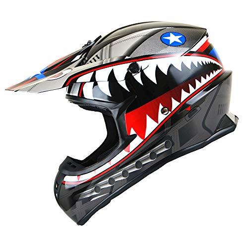 1Storm Adult Motocross Helmet BMX MX ATV Dirt Bike Downhill Mountain Bike Helmet Racing Style HKY_SC09S; Shark Black ()