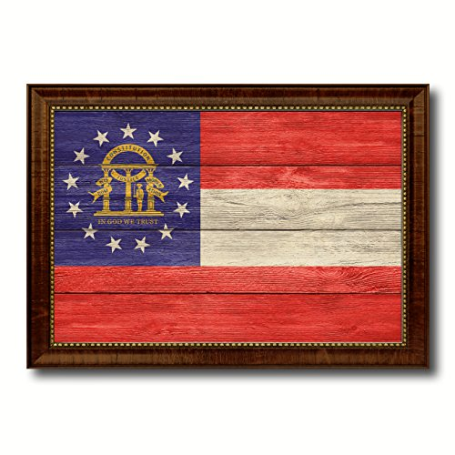 (Georgia State Flag Textured Canvas Print with Brown Picture Frame Gifts Home Decor Wall Art Decoration, 21