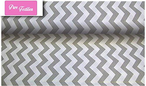Erstklassiger Baumwollstoff 0,5lfm, 100% Baumwolle, modische Muster, Breite 160cm - Zickzack grau 1,5 cm