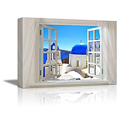 Glimpse into Blue Domed Churches in Santorini Greece Out of Open Window - Canvas Art Wall Art - 24