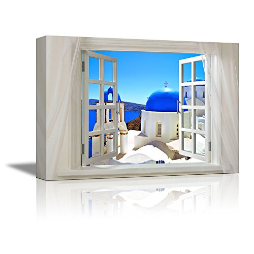 wall26 Glimpse into Blue Domed Churches in Santorini Greece Out of Open Window - Canvas Art Wall Decor - 24
