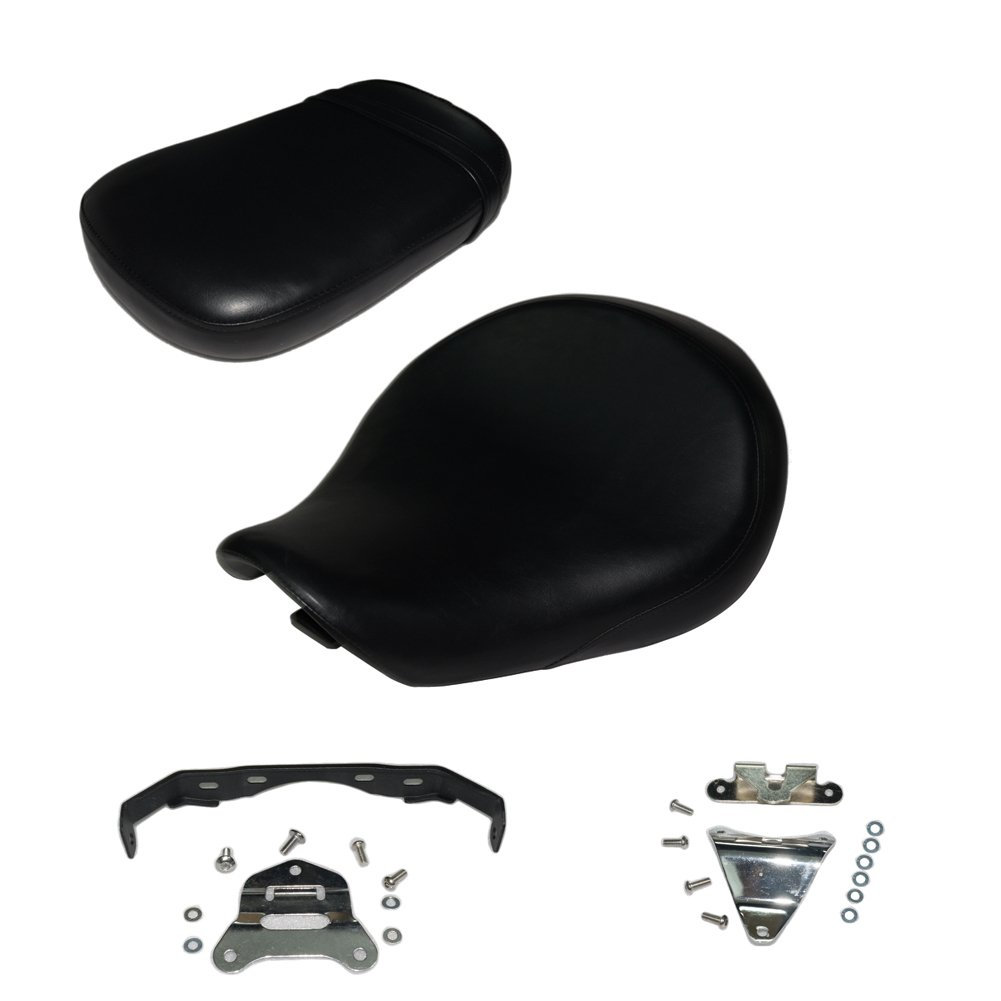Front and back 2PCS Black Motorcycle Rear Passenger Cushion Seat +Front Driver Cushion Seat For Honda Shadow Aero VT-750C VT750C 2004-2013 VT 750 C 2012 2011 2010 2009 2008 2007 2006 2005