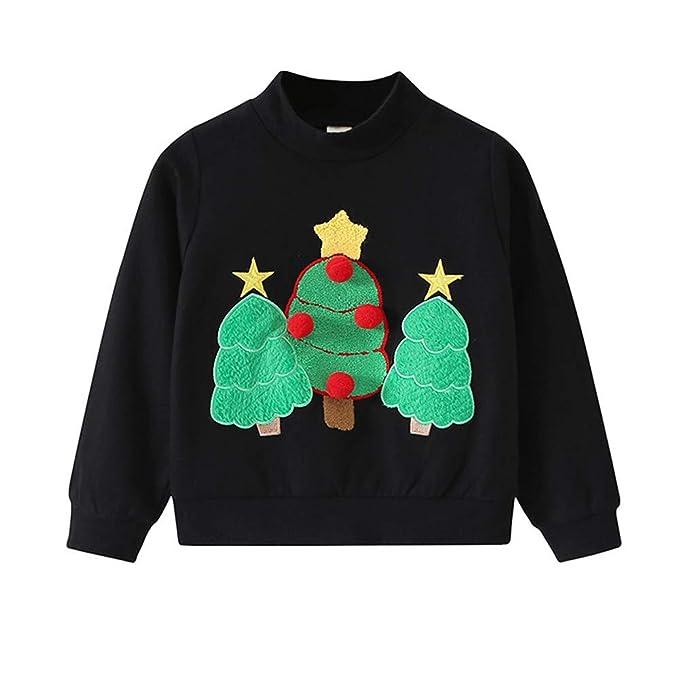 de7b05859 POLP Niño Navidad Ropa niñas Unisex Pijama Bebe Navidad Regalo Estampado de Navidad  Manga Larga Santa Claus Camiseta Suéter de Manga Larga con Estampado de ...