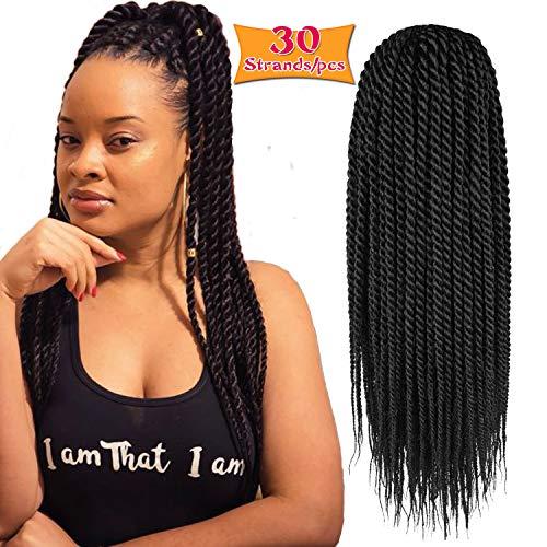 6Pcs 14inch 30stands Senegalese Twist Crochet Hair Braids Small Havana Mambo Twist Crochet Braiding Hair Low Temperature Fiber Synthetic Crochet Hair Extensions (1B)